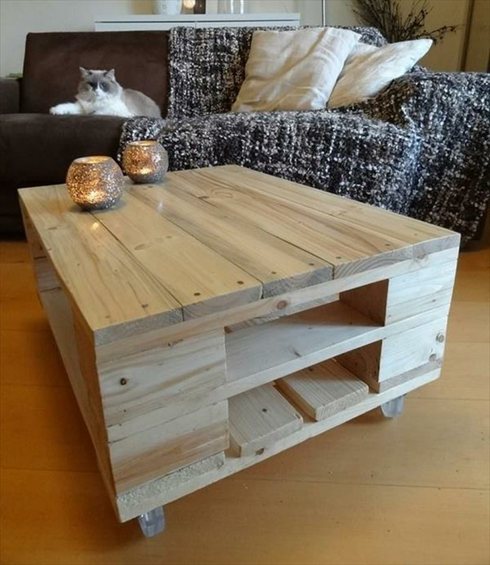 rustic pallet coffee table on wheels